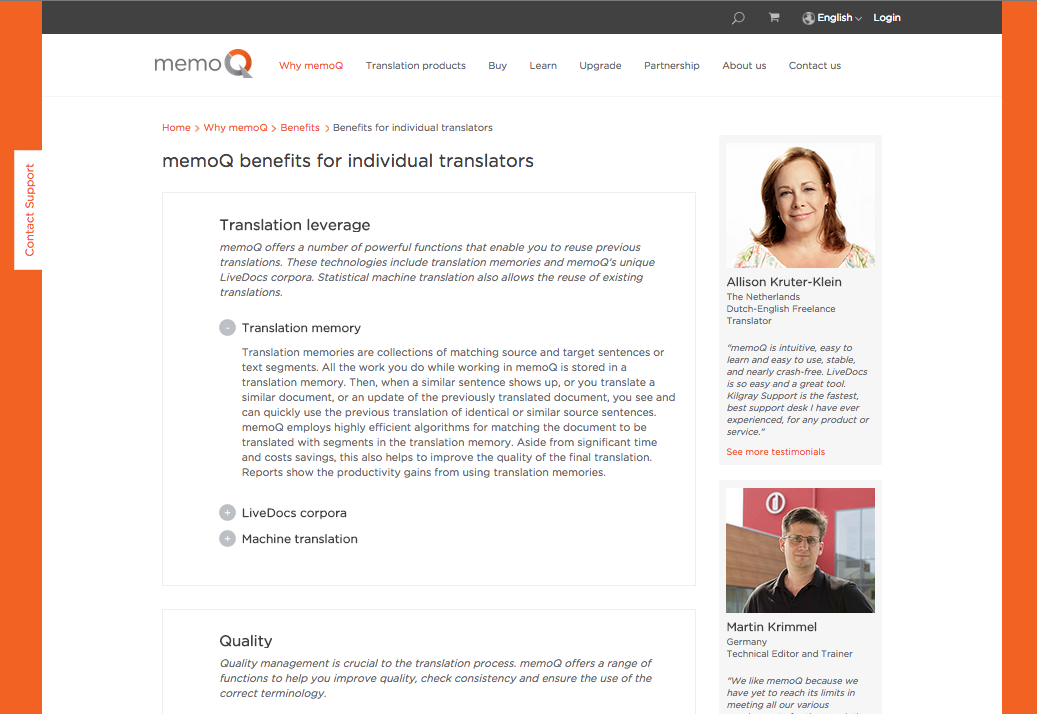 Benefits for individual translators