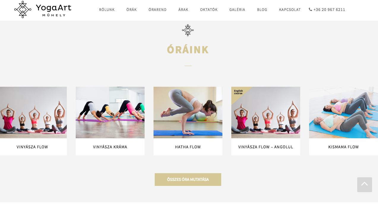 Yoga óratípusok megjlenítése a címlapon – a navigációt a képekre helyezett badge-k is segítik