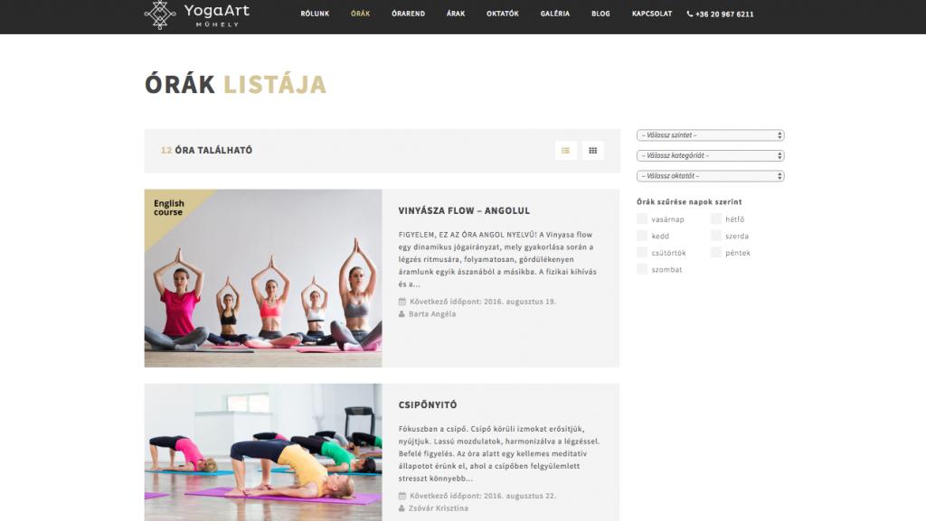 A yoga órákat napok, oktatók, kategóriák és szint szerint is lehet szűrni