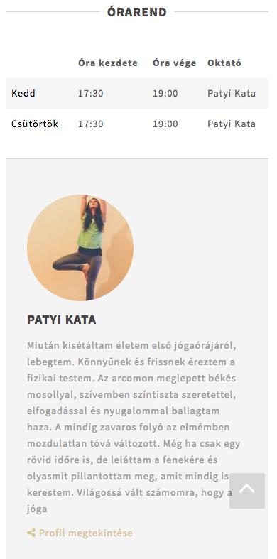 Yoga óra adatlap