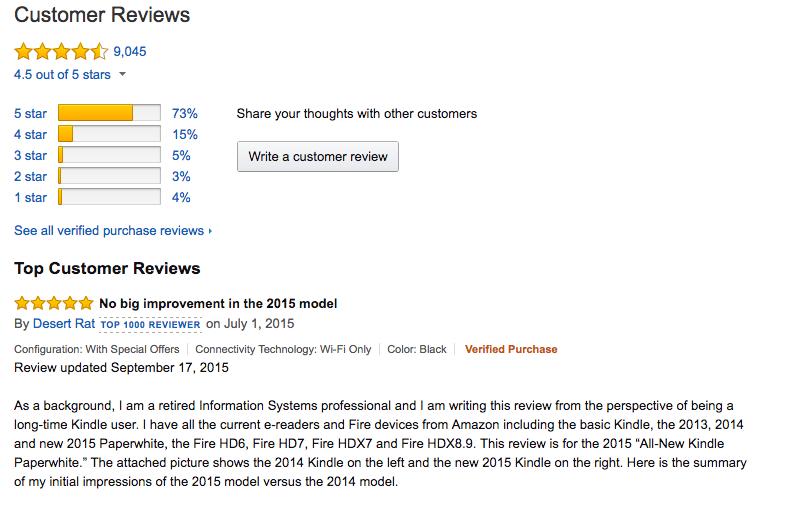 Értékelések megjelenítése az amazon.com-on