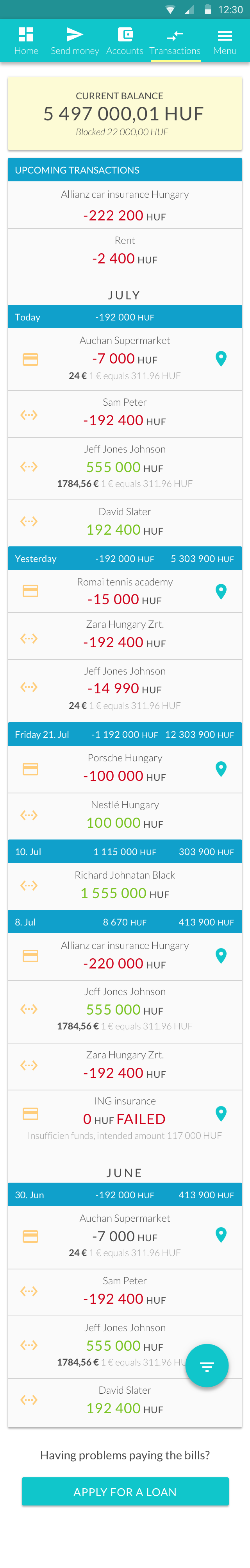 Transaction history - Android