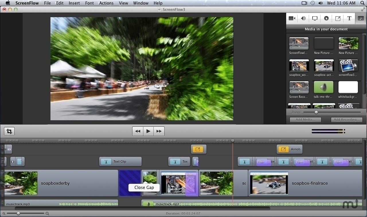A Screenflow felülete