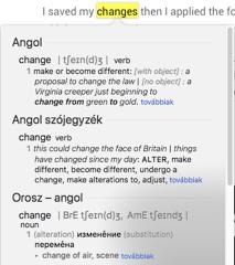 Beépített Macintosh szótár szó kijelölésével és jobb kattintással előhívva.