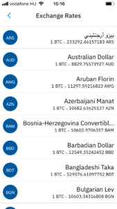 Fiat valutaválasztó. Segítségével globálisan állíthatjuk be, hogy milyen valutában jelezze ki az alkalmazás az árfolyamokat.