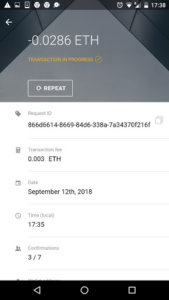 Ethereum tárca - tranzakció részletek