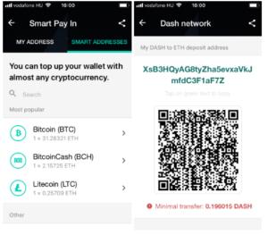 Ethereum tárca - okoscím generálás Ethereum tárca Dash coinból való egyenleg feltöltése esetén.