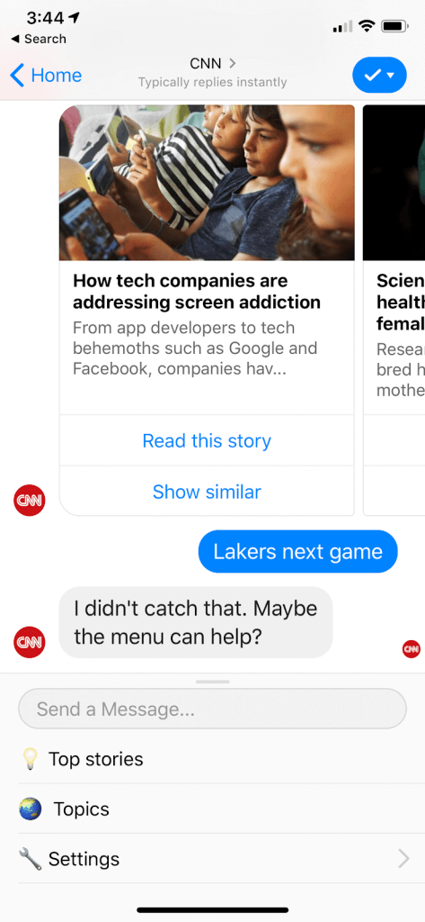 A CNN chatbotja már első alkalommal meghatározza a vele szemben állítható elvárásokat azáltal, hogy megmutatja a főbb műveleteket, amelyeket végrehajthatunk a segítségével