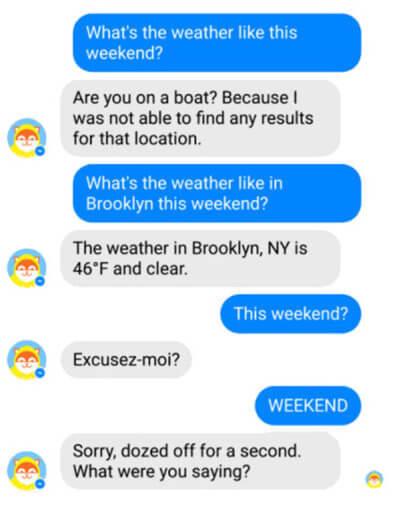 A Poncho chatbotja visszakérdez Ha botok szövegét szerkesztjük, egyenesen kérdezzünk rá, hogy mit hiányolunk.